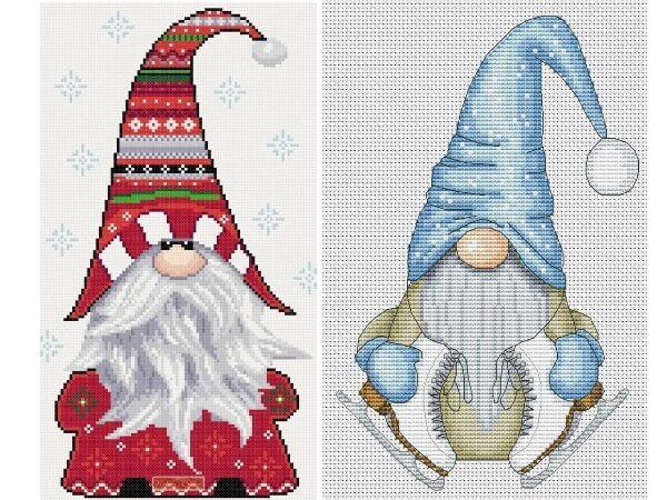 Схемы вышивки крестом Рождественские гномы
