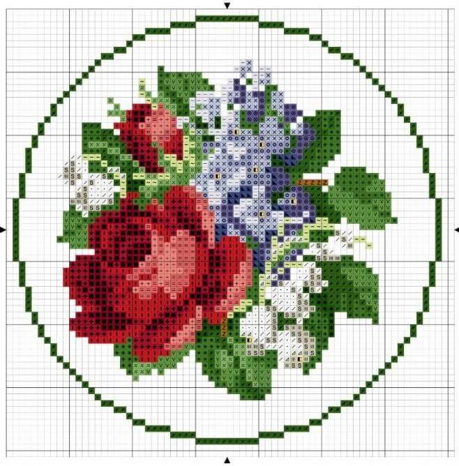Схемы старинных вышивок крестом цветов