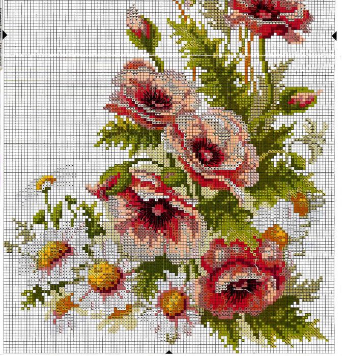 Схема вышивки ромашки и маки фото 104