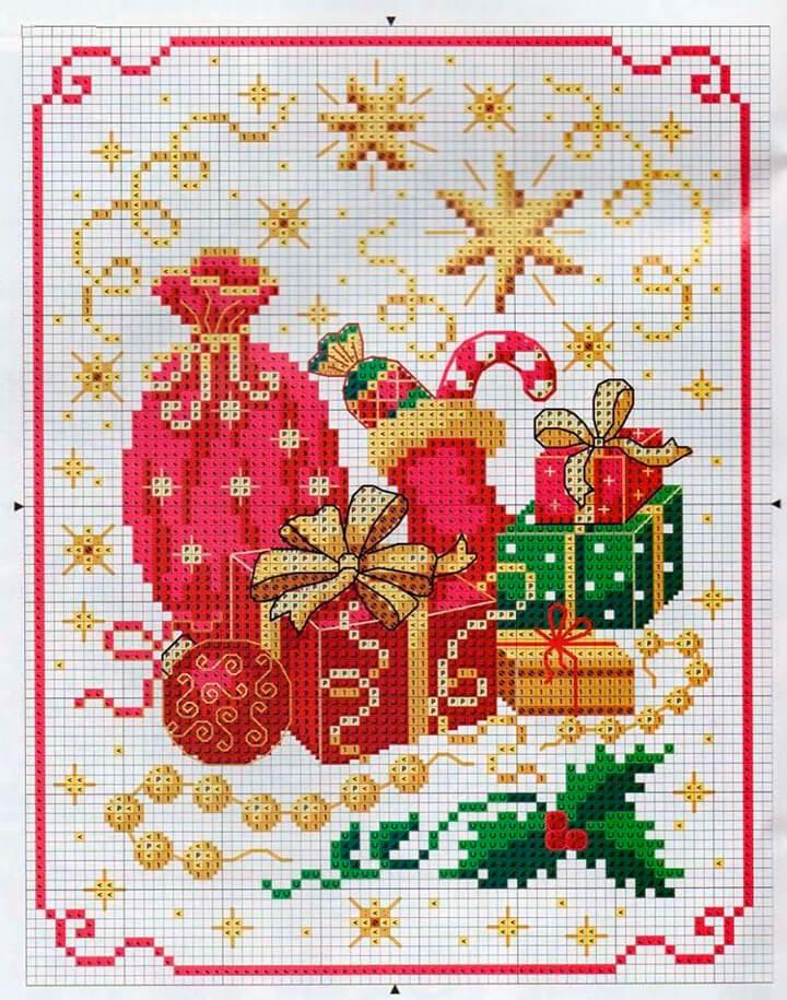 Подарок на новый год вышивка схемы