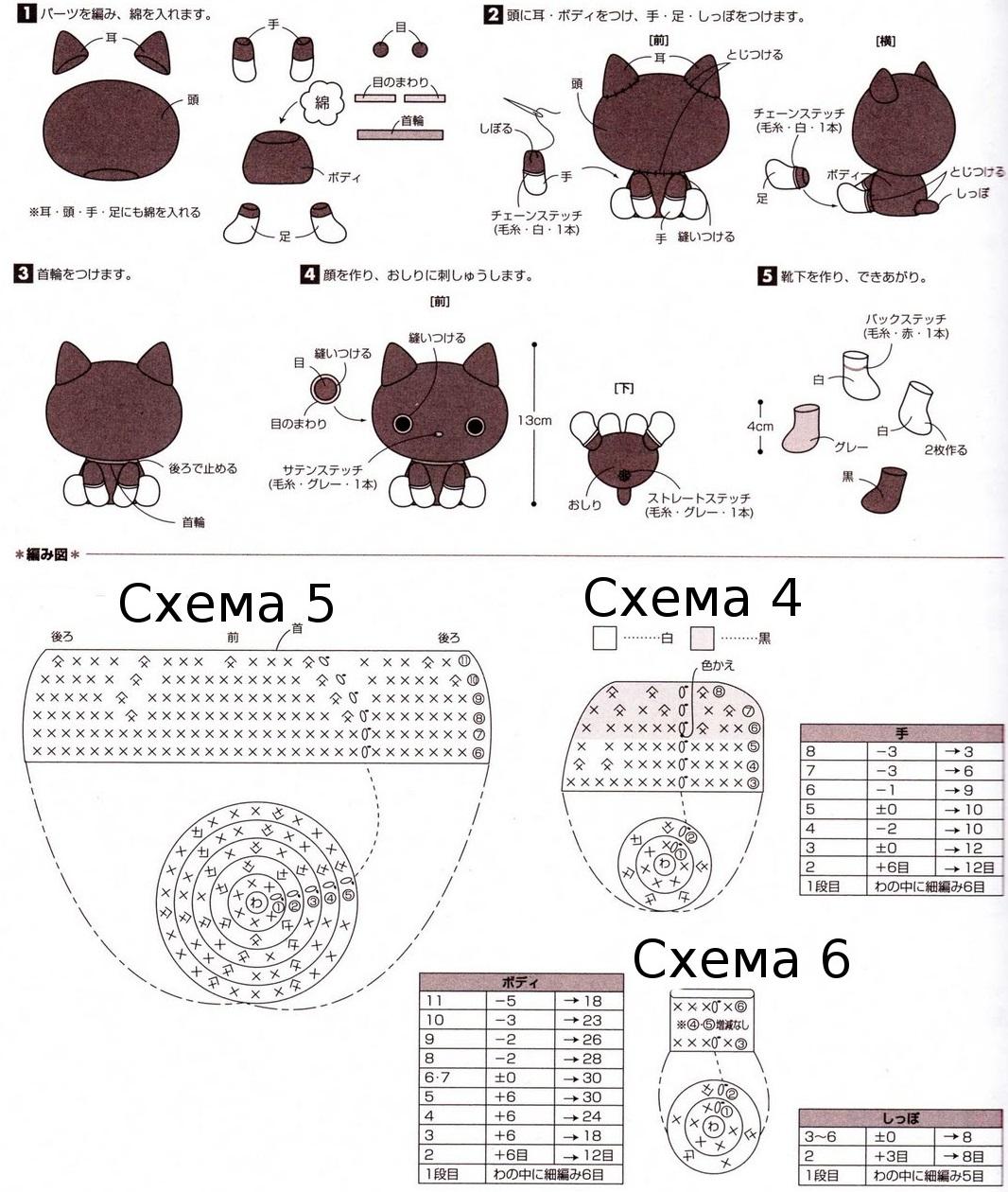 Схема вязания крючком маленькой кошечки