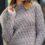 Пуловер серый с воротником-стойкой