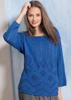 пуловер синий ажурный спицами