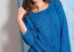 пуловер синий ажурный