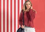 Красный пуловер с патентным узором