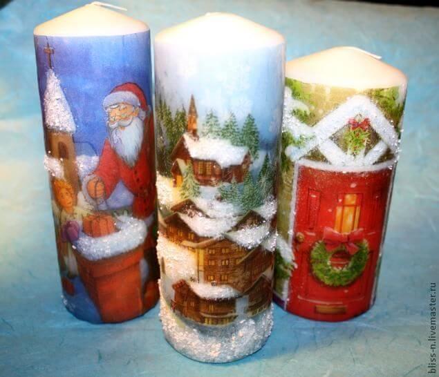 Декупаж новогодней свечи