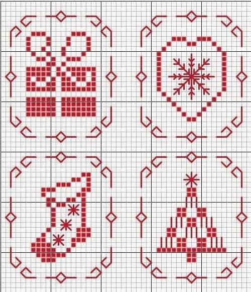 Схемы для вышивки новогодних елочных игрушек