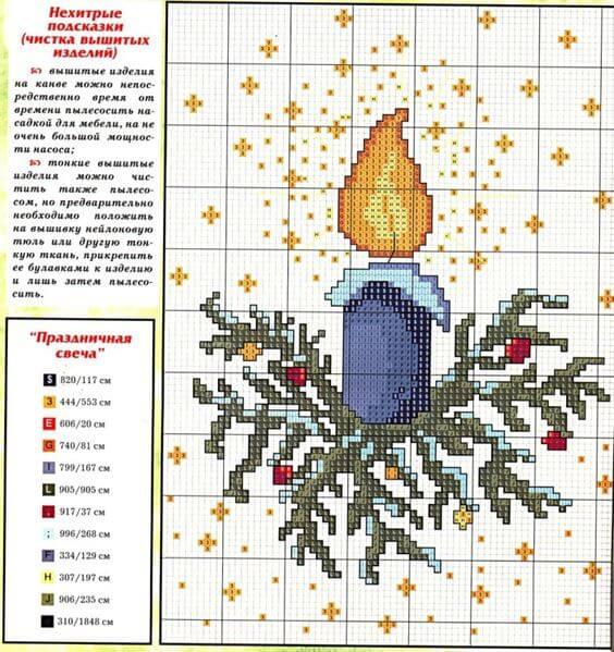 Схема вышивки Свеча