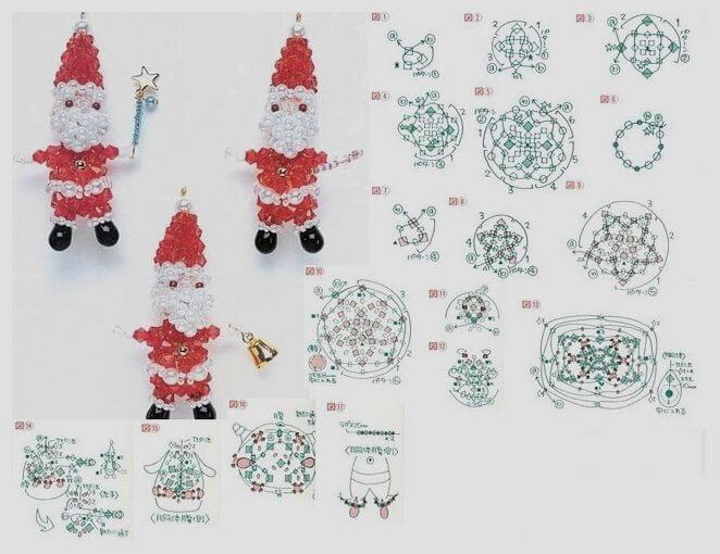 Дед Мороз из бисера. Схема