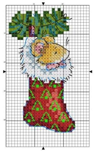Схема вышивки крестом мышка в носке