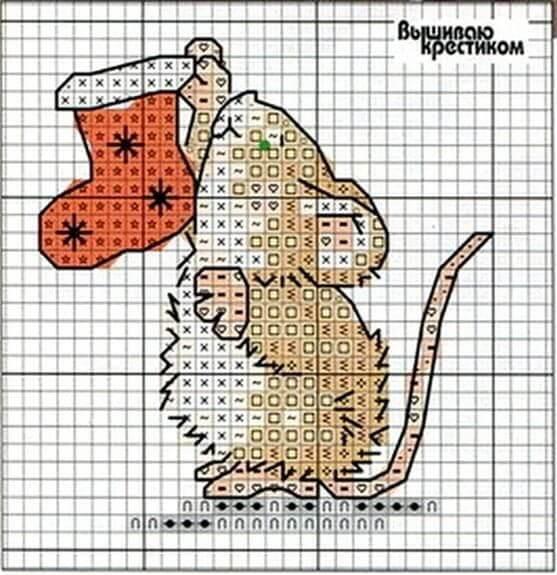 Схема вышивки крестом мышь с носком