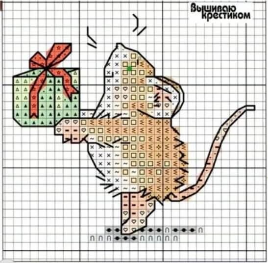 """Схема вышивки крестом """"Мышь с подарком"""""""