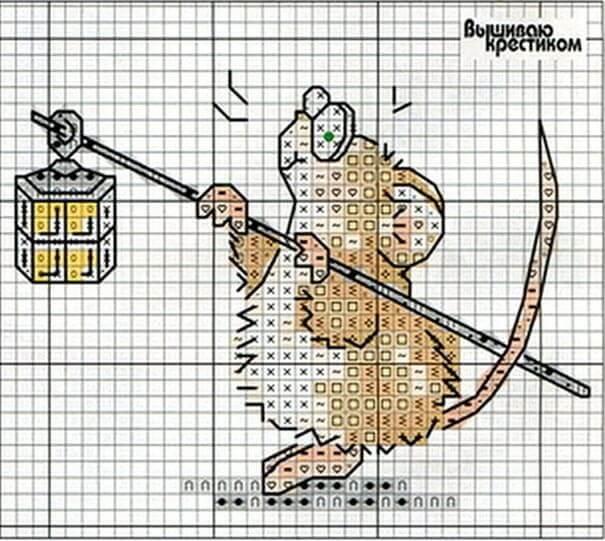 Схема вышивки крестом - мышь с фонариком