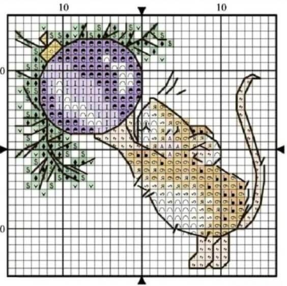 Схема вышивки крестом - мышь с елочным шариком