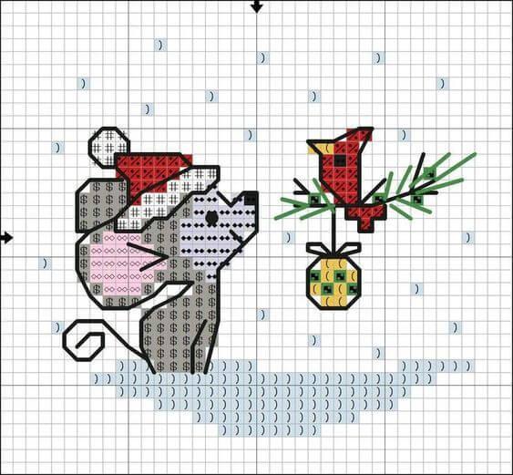 Схема вышивки крестом - мышка новогодняя