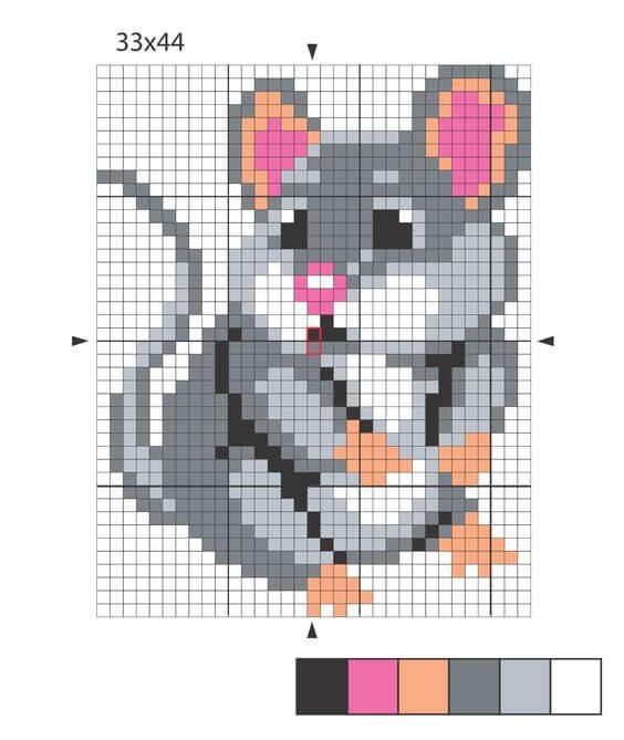 Схема вышивки крестом - крысенок