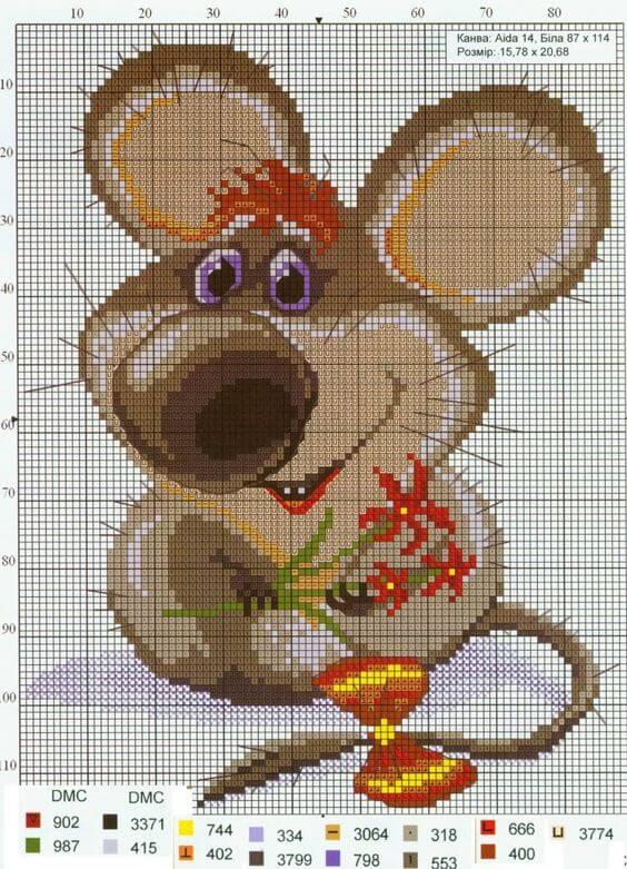 Схема вышивки крестом крысы