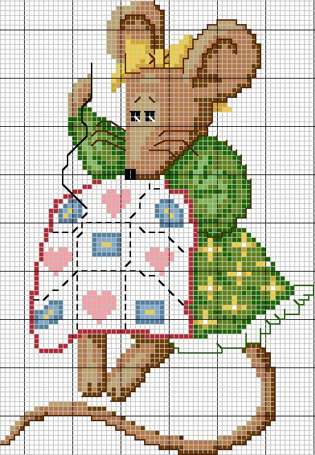 Схема вышивки крестом - мышь рукодельница