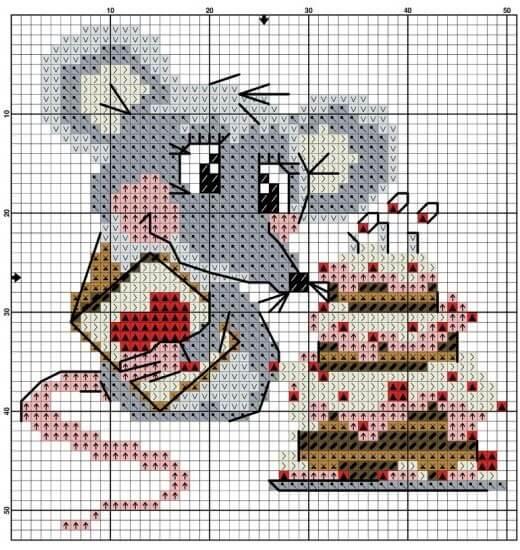 Схема вышивки крестом - мышь с тортом