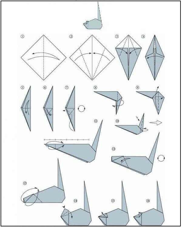 Оригами мышка схема